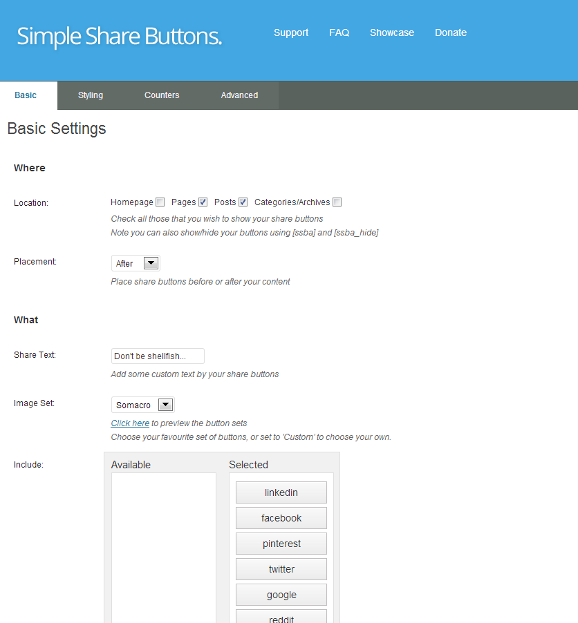 Simple Share Buttons Admin Panel