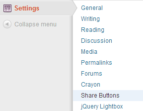 Navigate to the Simple Share Buttons Admin Panel