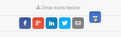 simple share buttons ellipsis - drag and drop